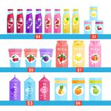 Fresh Bottles Of Juice, Milk And Jogurt Logos Set  Natural Food Farm Products Concept. Vector Illustration Royalty Free Stock Photography