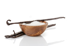 Fresh bourbon vanilla pods and sugar Royalty Free Stock Photography