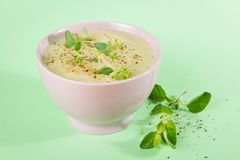 Fresh Bowl Cauliflower and Broccoli Soup Royalty Free Stock Photography