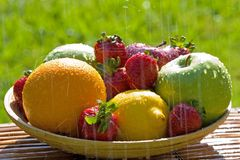 Fresh Bowl of Mixed Fruit Stock Image