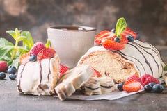 Fresh braided bread. Fresh sweet braided bread in white chocolate with fresh berries stock photo