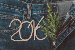 Fresh branch of christmas tree and the numbers 2016 of rope on t Stock Photo