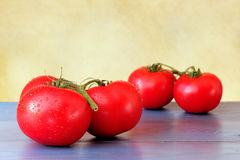 Fresh branch tomatoes on vintage blue wooden table. Organic tomatoes with waterdrops placed on a wooden table with yellow background Stock Photos
