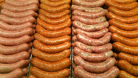 Fresh brats at the butcher Stock Images