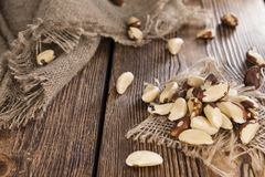 Fresh Brazil Nuts. Some Brazil Nuts on vintage wooden background Royalty Free Stock Images