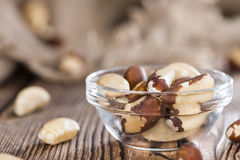 Fresh Brazil Nuts. Some Brazil Nuts on vintage wooden background royalty free stock photography