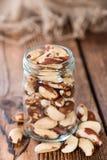Fresh Brazil Nuts. Some Brazil Nuts on vintage wooden background stock image
