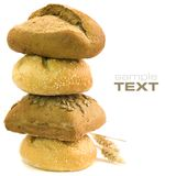 Fresh bread. Bread composition on white background (with sample text Stock Image
