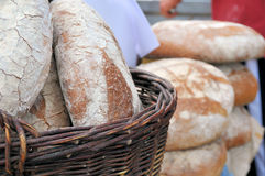 Fresh bread. Fresh country bread in a wicker basket Stock Photography