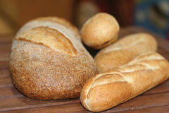 Fresh Bread. Freshly baked breads and baguettes stock images