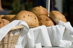 Fresh bread. Bread in baskets for sale at a local outdoor festival Royalty Free Stock Photography