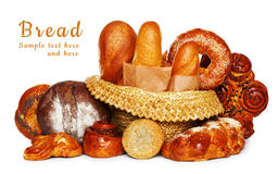Fresh bread assortment isolated Royalty Free Stock Image