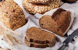 Fresh bread assortment on a textile background Royalty Free Stock Image