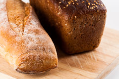 Fresh bread and baguette Stock Photos
