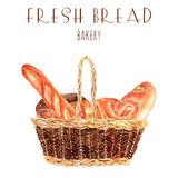 Fresh bread baker basket illustration Royalty Free Stock Photography