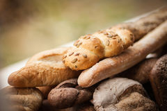 Fresh bread from the bakery. Different kinds of bread from grain Stock Photography