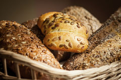 Fresh bread from the bakery. Different kinds of bread from grain Royalty Free Stock Photos