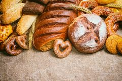 Fresh bread and bakery in the form of background Royalty Free Stock Image
