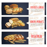 Fresh bread and bakery products posters Royalty Free Stock Photo