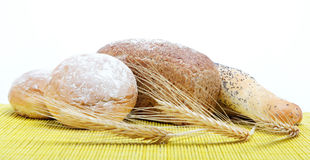 Fresh bread on a bamboo napkin Stock Image