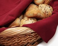Fresh bread in basket Stock Image