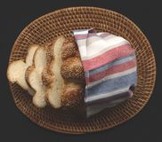 Fresh bread in basket Stock Photo