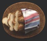 Fresh bread in basket Stock Photo