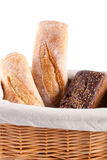 Fresh bread in a basket Stock Photos