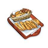 Fresh bread basket. food sketch Royalty Free Stock Photography