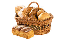 Fresh bread in the basket fully isolated. On the white. Many bread sorts stock photos