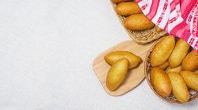 Fresh bread in a basket stock photos