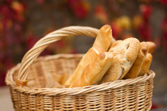 Fresh bread on the basket. Fresh  loaf bread on the basket  in autumn Royalty Free Stock Image
