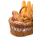Fresh bread in the basket on the white. With space for text. Isolated royalty free stock images