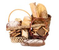 Fresh bread in baskets Royalty Free Stock Photo