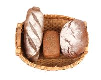 Fresh bread in baskets Stock Photos