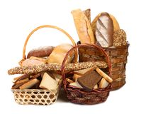 Fresh bread in baskets  on white Stock Image