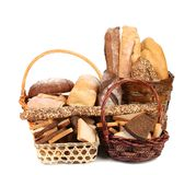 Fresh bread in baskets. Stock Photo