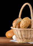 Fresh bread on black Royalty Free Stock Image