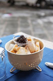 Fresh bread and black olive tapenade Royalty Free Stock Photo