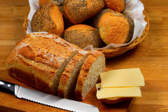 Fresh bread, bread rolls and cheese Royalty Free Stock Photography