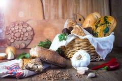 Fresh bread, buckwheat bread, garlic bread, French baguette Royalty Free Stock Photography