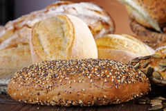 Fresh bread and buns Stock Photos