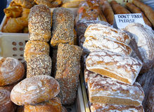 Fresh bread buns and home baked cakes at the country market Stock Photos