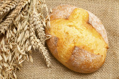 Fresh bread on burlap Royalty Free Stock Images