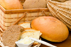 Fresh bread and butter Royalty Free Stock Photo