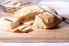 Fresh bread and cheese Royalty Free Stock Photo