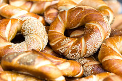 Fresh bread close up. Food background. Baked bread with Whole Wh Stock Photography