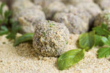 Fresh Bread Coated Meatballs ready for cooking Royalty Free Stock Image