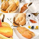 Fresh bread - collage of six photos. Variety of fresh bread - multiple images. Breakfast collage Stock Photo