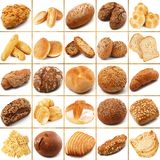 Bread collage on white background. Fresh bread collage on white background Royalty Free Stock Photos